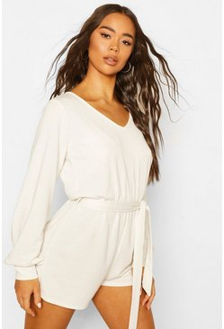 White Soft Tie Waist Oversized Playsuit