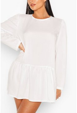 White Woven Drop Hem Shift Dress