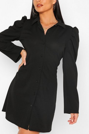 Black Button Through Fitted Shirt Dress