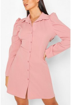 Blush Button Through Fitted Shirt Dress
