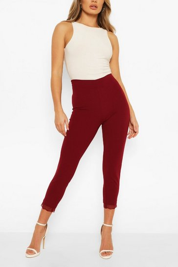 Wine Lace Hem Tailored Trouser