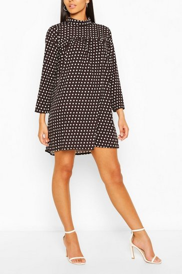 Black Polka Dot High Neck Smock Dress