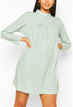 Sage Polka Dot High Neck Smock Dress