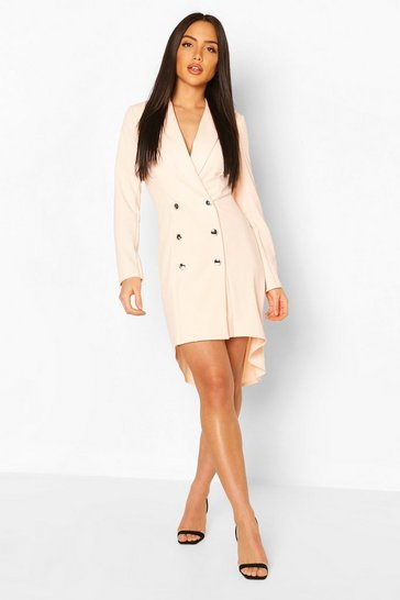 Blush Dip Back Crepe Blazer Dress