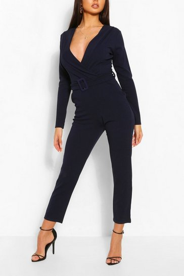 Navy Self Fabric Belt Tailored Jumpsuit