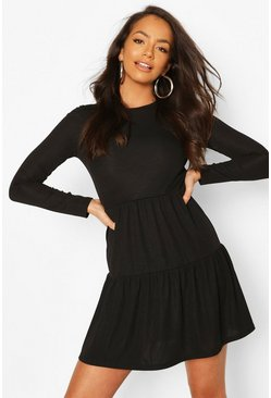 Black Rib Tiered Smock Dress