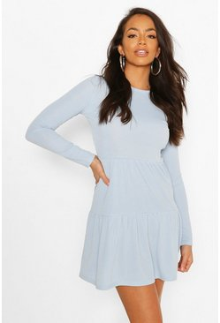 Blue Rib Tiered Smock Dress