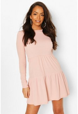 Blush Rib Tiered Smock Dress