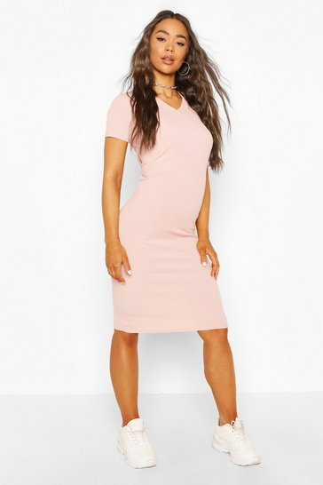 Blush Rib V Neck Dress