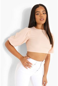 Blush Rib Puff Sleeve Crop Top