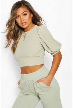Sage Rib Puff Sleeve Crop Top