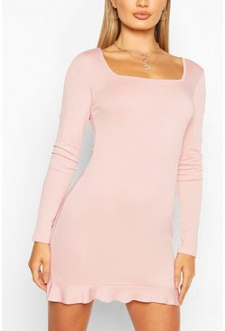 Blush Square Neck Mini Dress With Frill Hem