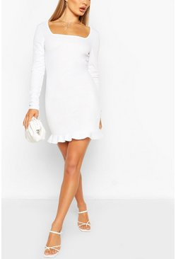 Ivory Square Neck Mini Dress With Frill Hem