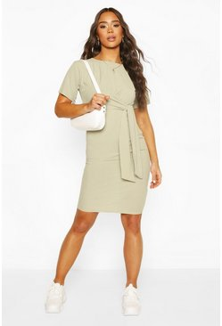 Sage Rib Midi Dress With Draped Side Tie
