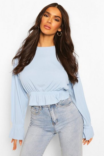 Blue Rib Elasticated Waist And Cuff Top