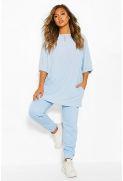 Blue Rib Oversized Top