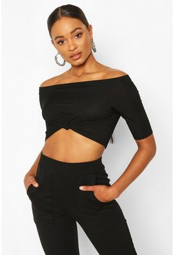 Black Rib Knot Front Crop Top