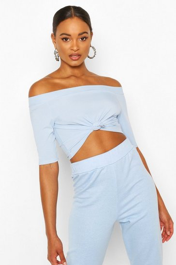 Blue Rib Knot Front Crop Top