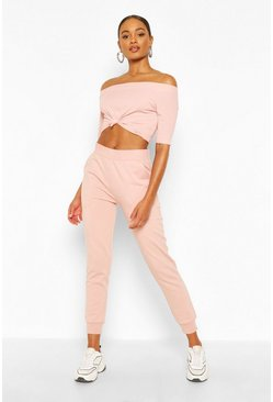 Blush Rib Knot Front Crop Top