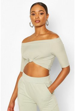 Sage Rib Knot Front Crop Top