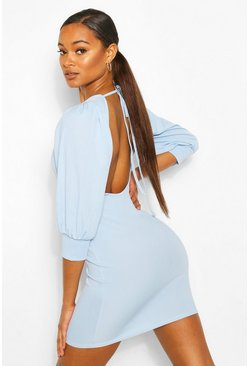 Blue Rib Open Back Mini Dress
