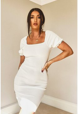 Ivory Rib Square Neck Puff Sleeve Dress