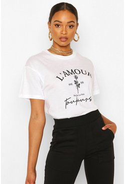 L'Amour Slogan Flower Print T-Shirt, White