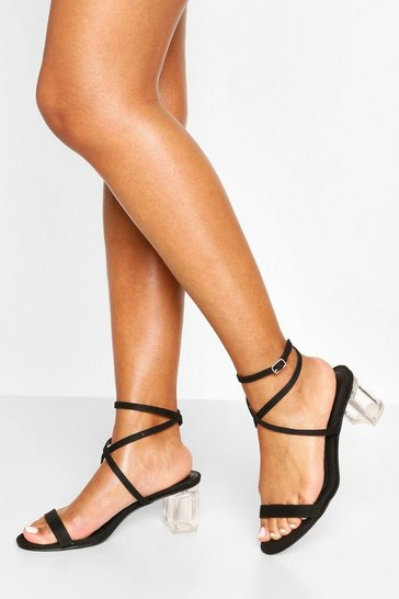 Black Clear Heel Low Block Strappy Sandals