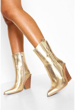 Gold Metallic Western Boots