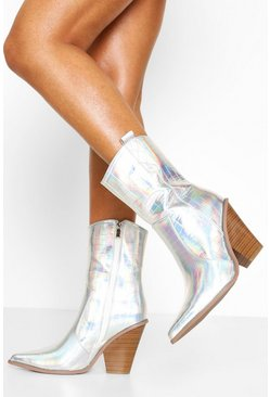 Silver Metallic Western Boots
