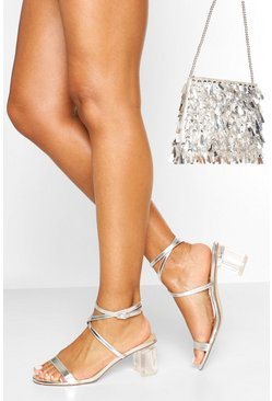 Clear Heel Low Block Strappy Sandals, Silver