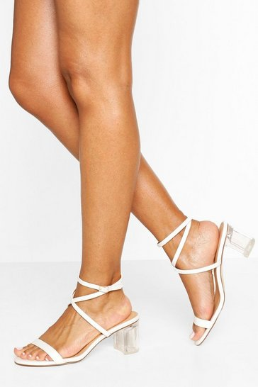 White Clear Heel Low Block Strappy Sandals