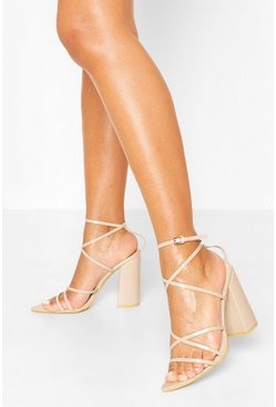 Nude Strappy Pointed Block Heel Sandals