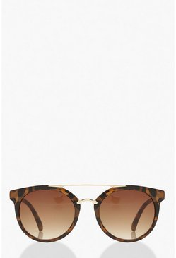 Brown Tortoise Shell Metal Arm Aviator Sunglasses