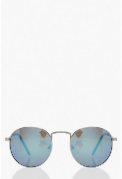 Blue Coloured Flat Lens Round Sunglasses
