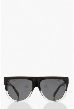 Black Oversized Ombre Flat Top Sunglasses