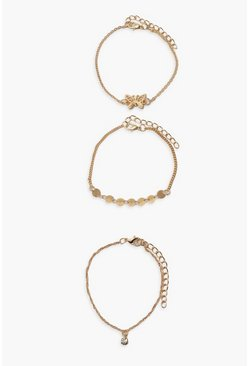 Gold Butterfly Bracelet 3 Pack