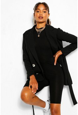Black Pocket Double Breasted Blazer