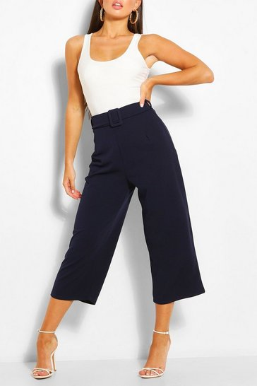 Navy Self Belt Culottes