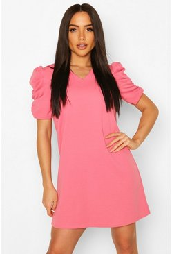 Rose V Neck Ruched Puff Sleeve Shift Dress
