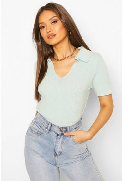 Mint Rib Knit Polo Jumper