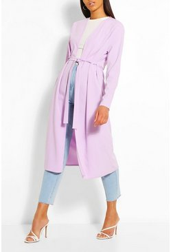 Lilac Ruched Detail Belted Duster Coat