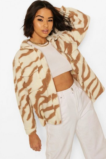Brown Animal Print Boxy Shacket
