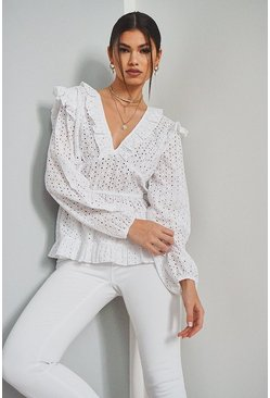 White Broiderie Anglaise Ruffle Plunge Blouse