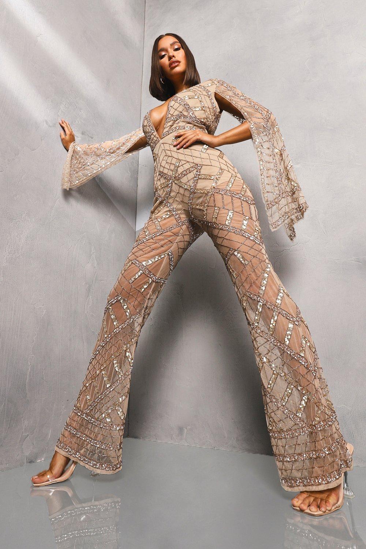 70s Jumpsuit   Disco Jumpsuits, Sequin Rompers Womens Premium Embellished Cap Sleeve Jumpsuit - Metallics - 12 $102.00 AT vintagedancer.com