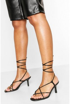 Black Strappy Low Heel Sandals