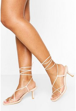Nude Strappy Low Heel Sandals