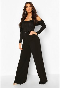 Black Wide Leg Buckle Detail Trousers
