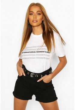 International Womens Day Slogan T-Shirt, White