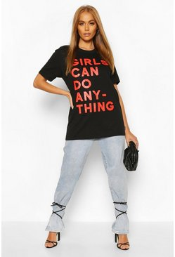 Black Girls Can Do Anything Slogan T-Shirt